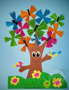 Spring Arts And Crafts, Summer Crafts For Kids, Paper Crafts For Kids, Preschool Crafts, Easter Crafts, Art For Kids, Diy And Crafts, Insect Crafts, Tree Crafts