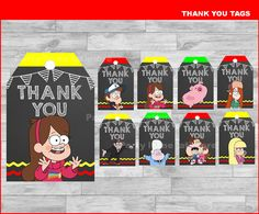 Gravity Falls Thank you Tags Instant download, Gravity Falls Chalkboard tags, Gravity Falls party Thank you Tags by partyirenelatimore on Etsy https://www.etsy.com/listing/488518901/gravity-falls-thank-you-tags-instant