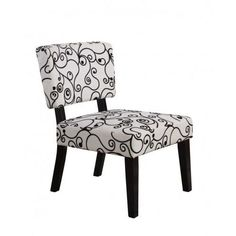 Living Room Arm Less Accent Side Lounge Waiting Chair Home Furniture White Black #Traditional