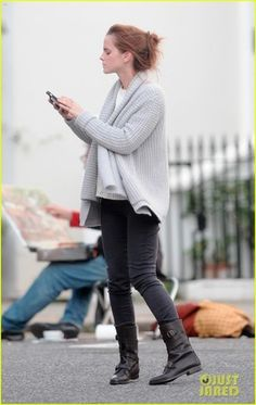 Grey sweater (mine gap); white pima cotton; dark gray pants; aquatalia boots.