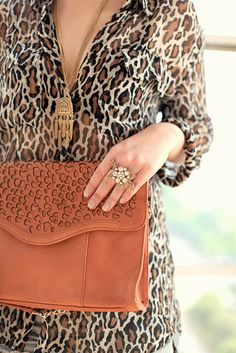 leopard blouse - Equipment  leopard clutch - c/o Rebecca Minkoff   Look at the detail on that bag!!! ♥ (That clutch!!)
