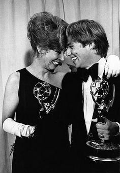 """Michael Learned and Richard Thomas from """"The Waltons"""" extremely happy after both winning Emmy Awards at the 25th annual Emmy Awards Presentations. Michael won her Emmy for best Actress in a Series and Richard won his for Best Actor in a Series."""
