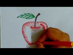 How to draw apple with sketch pen dots POINTILLISM - YouTube