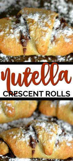 Nutella Crescent Rolls are a simple, mouthwatering treat! Just 3 ingredients! Nutella Crescent Rolls are a simple, mouthwatering treat! Just 3 ingredients! Nutella Brownies, Köstliche Desserts, Delicious Desserts, Yummy Food, Brunch Recipes, Sweet Recipes, Breakfast Recipes, Nutella Crescent Rolls, Bread Recipes