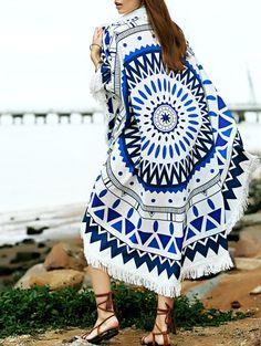 Round Shape Geometric Print Convertible Cape Cover Up #womensfashion #pinterestfashion #buy #fun#fashion