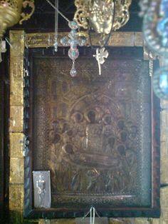The wonderworking and myrrh-streaming icon of Panagia Malevi Church Interior, Orthodox Icons, Byzantine, Christmas Art, Jesus Christ, Saints, Prayers, Frame, Crafts