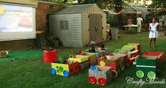picture of great outdoor movie night   ... and their friends. Drive-in-Movie Box Car tutorial by Crafty Moods