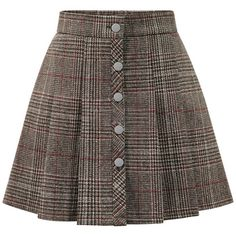 Khaki Plaid Button Front Mini Skirt found on Polyvore featuring polyvore, women's fashion, clothing, skirts, mini skirts, bottoms, button front mini skirt, button front skirt, tartan mini skirt and short brown skirt