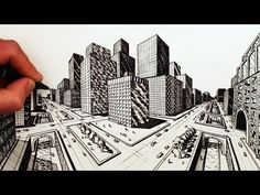 How to Draw a City in 5-Point Perspective in a Crystal Ball - YouTube