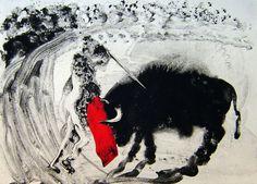 "Miquel Barceló: ""Lanzarote 52"", 2002, aguatinta iluminada a mano estampada sobre papel."