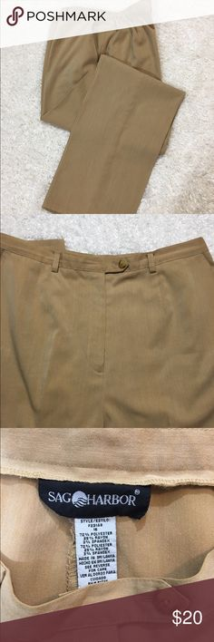 """Sag Harbor Slacks Loved this color and fabric. Slash front pockets,  gusseted sides for comfort, zipper and tabbed front closure. Hem was let all the way down for length, but could be hemmed to your preference. Waist 16"""" across, length 30"""" fabric content in last photo. Sag Harbor Pants"""