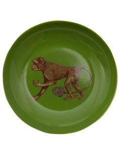 Bursting with country-inspired edge, this unique and decorative small plate will perk up simply curated table settings. Small Plates, Colorful Interiors, Monkey, Liberty, Porcelain, Ceramics, Fabric, Gifts, Glaze