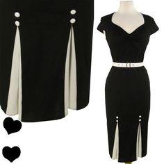 NEW Black 50s PINUP Party Rockabilly Pencil Dress S-XXL
