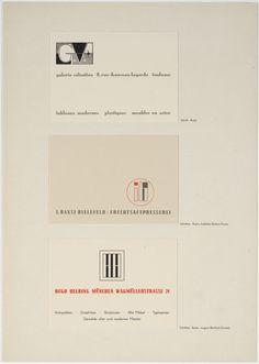 "Georg Trump. Galerie Valentien 8, rue Chauveau-Lagarde Toulouse I. Bansi Bielefeld/Fruchtsaftpresserei Hugo Helbing München Wagmüllerstrasse 21. c. 1931. Letterpress. Each card: 3 x 4 1/4"" (7.6 x 10.8 cm). H. Berthold AG, Berlin. Jan Tschichold Collection, Gift of Philip Johnson. 999.1999. Architecture and Design"
