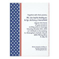 Patriotic Military Stars and Stripes Wedding 5.5x7.5 Paper Invitation Card