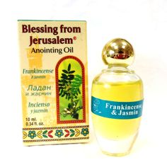 Blessing From Jerusalem,Frankincense & Jasmin- Anointing Oil 10 ml / 0.33 fl.oz | Yardenit.com | This anointing oil is made in Israel, using natural Galilee and Jerusalem Virgin olive oil and scented with flowers and herb essences mentioned in the Bible. Perfumed with frankincense & Jasmine. oil.