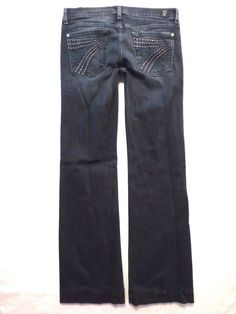 7 For All Mankind size 29 x 32 Dojo flare Rhinestone dark blue wash Womens jeans #7ForAllMankind #BootCutFlare
