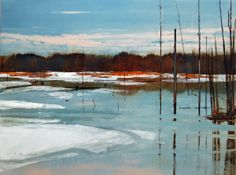 "Contemporary Painting - ""spring flooding"" (Original Art from David Lidbetter)"
