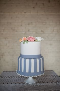 Wedding Cakes: Blue Striped Cake Fondant