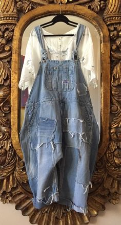 Authentic MAGNOLIA PEARL OOAK Patched & Distressed Vintage Denim Overalls ~ O/S #MagnoliaPearl #Overalls