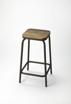 BUTLER INDUSTRIAL CHIC BAR STOOL by Butler Specialty Company - This mixed material bar stool will stylishly enhance your space - Featuring an industrial chic aesthetic, it is hand crafted from mango w