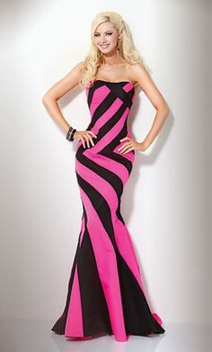 Strapless Hot Pink & Black Striped Gown,Sexy Evening Dresses