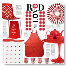 """""""Red in the Kitchen"""" by heather-reaves ❤ liked on Polyvore featuring interior, interiors, interior design, home, home decor, interior decorating, B by Brandie, Unison, Aeon and Dot & Bo"""