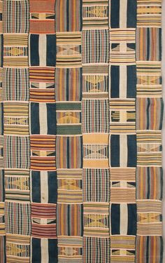 Africa   Detail from a woman's wrapper from the Ewe people of Agbozume area, Ghana   Cotton; 14 hand-woven strips, hand sewn together with three different alternating warp stripes. The weft designs are both geometric blocks and inserted figurative designs including a hand and stylized arrows and stools.   Mid 20th century    Object no. 2001-13-2