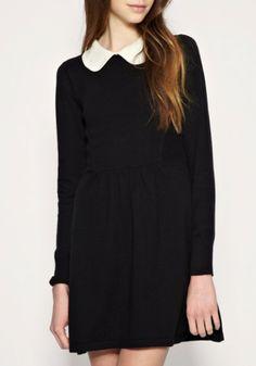 Black Lapel Knee Length High Waist Cotton Dress