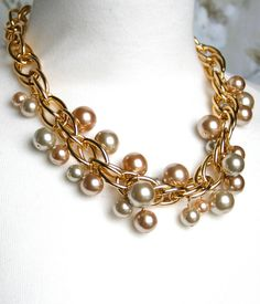 Chunky gold necklace chunky bridesmaid by ILoveHoneyWillow on Etsy