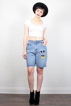 Vintage MICKEY MOUSE Denim Shorts 1990s Embroidered Blue Jean Shorts Disney Hipster 90s Soft Grunge High Waisted Shorts M Medium L Large by ShopTwitchVintage #vintage #etsy #90s #1990s #mickey #mouse #mickeymouse #denim #disney #jean #shorts
