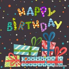 Happy Birthday Template Design in vector from stock #7 - 25 Eps
