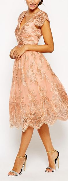 wrap front embroidered ress