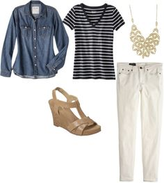 Spring 17 Denim Shirt + Striped Tee + White Jeans + Wedges + Statement Necklace