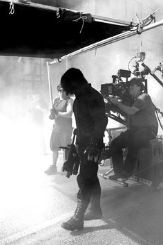 Technically, this is a crew/behind the scenes shot of Sebastian Stan as Bucky Barnes / The Winter Soldier, not purely a character snap. But it was too cool not to pin.