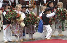 Children wear traditional clothing at a ceremony in Poland. Poland People, Polish Clothing, French Twist Updo, Kids Homework, Kids Wear, Children Wear, Krakow Poland, Folk Costume, Dance Costume