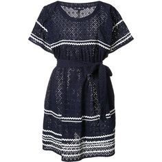 Lisa Marie Fernandez striped detail belted dress ($885) ❤ liked on Polyvore featuring dresses, blue, belted dress, blue cotton dress, blue dress, lisa marie fernandez and blue dress with belt