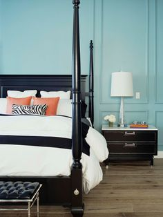 Bedroom: Return The Compliment: Complementary colors always play well together: Orange accents pop against ocean-blue walls.