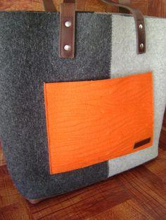 Graf & Lantz Wool & Leather Large Shoulder Bag Purse Jaunt Tote Gray #GrafLantz #ShoulderBag
