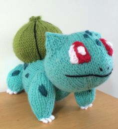 Knitting Pattern for Bulbasaur Pokemon - Bulbasaur pokemon measures roughly 18cm tall, making him the perfect size for cuddling and a perfect gift