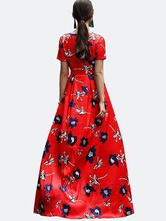 Ericdress Fleur européenne Imprimer Plancher-Longueur Maxi Dress Robe maxi