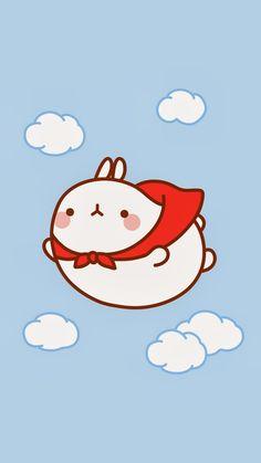 We're rooting for you, Molang! Chibi Kawaii, Kawaii Bunny, Cute Chibi, Kawaii Art, Kawaii Anime, Wallpapers Kawaii, Kawaii Wallpaper, Cute Cartoon Wallpapers, Cute Animal Drawings