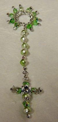 fai da te Corona del Rosario perline per bomboniere colore verde argento per bambini e bambine