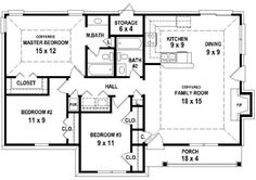 #653626 - 3 Bedroom 2 Bath House Plan less than 1250 square feet : House Plans, Floor Plans, Home Plans, Plan It at HousePlanIt.com