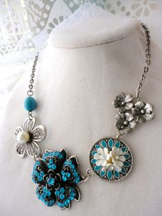 Upcycled Repurposed assembage silver tone Aqua Blue Turquoise white Vintage enamel brooch faux perl flower rhinestone floral bead necklace