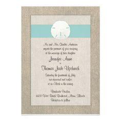 Can get ribbon in custom colors (purple) Sand Dollar Beach Wedding Invitation - Turquoise