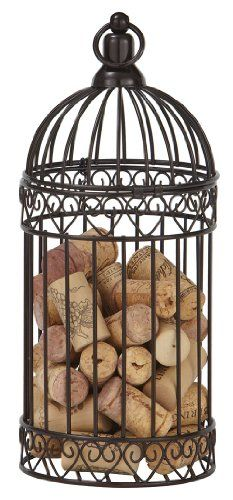 CounterArt Metal Wine Cork Caddy in Bird Cage Design, ~ To carry my rose in! Wine Cork Holder, Wine Cork Art, Wine Cork Crafts, Wine Bottle Holders, Wine Rack, Cheap Bar Stools, Bar Stools With Backs, Bird Cage Design, Home Bar Accessories