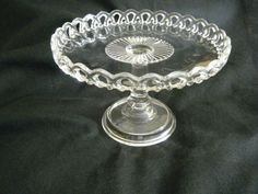 Pattern Lace Glass EAPG Pedestal Cake Plate