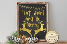 Eat, Drink and Be Merry Instant Download Printable Art 8x10 (413AOWD) Holiday Art Celebrate New Years Eve art Printable Gold Typography art by OrangeWillowDesigns on Etsy