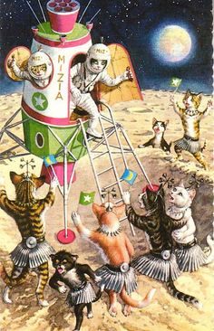 Cool outer space kitties!
